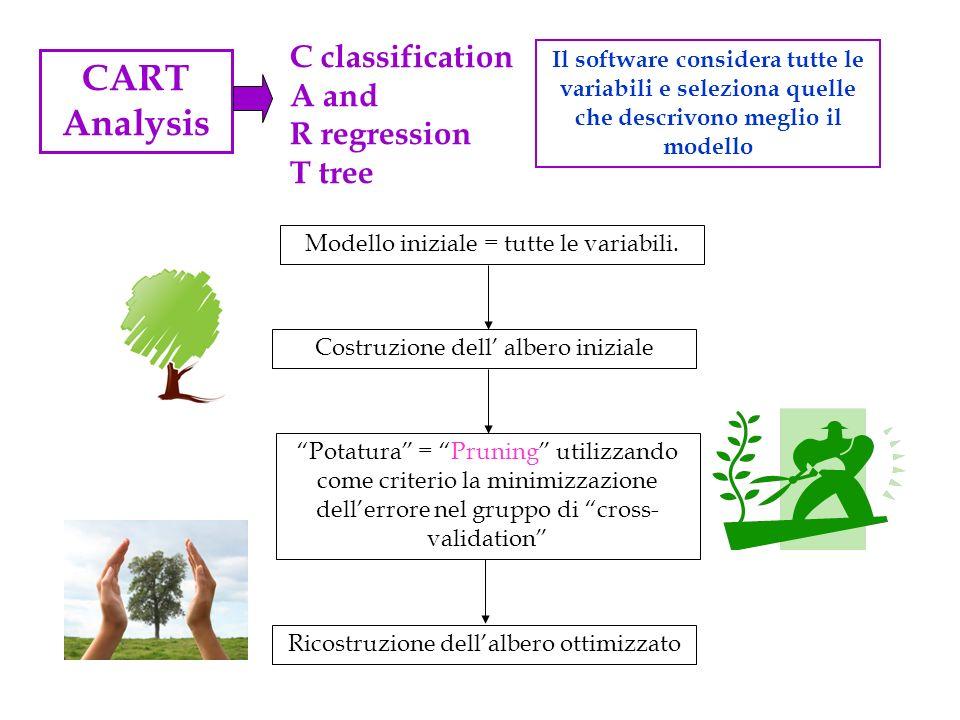 CART Analysis Il software considera tutte le variabili e seleziona quelle che descrivono meglio il modello C classification A and R regression T tree
