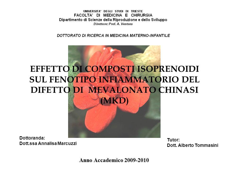 Dottoranda: Dott.ssa Annalisa Marcuzzi Tutor: Dott. Alberto Tommasini Anno Accademico 2009-2010 EFFETTO DI COMPOSTI ISOPRENOIDI SUL FENOTIPO INFIAMMAT