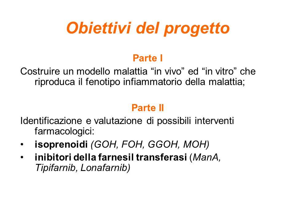 Obiettivi del progetto Parte I Costruire un modello malattia in vivo ed in vitro che riproduca il fenotipo infiammatorio della malattia; Parte II Iden