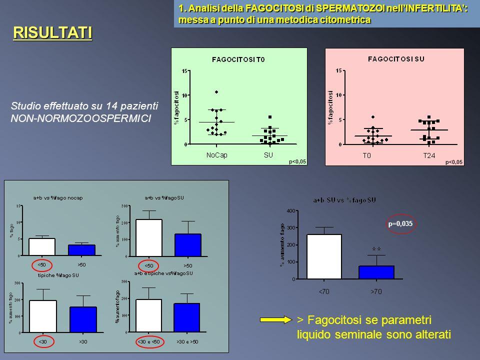 Studio effettuato su 14 pazienti NON-NORMOZOOSPERMICI 1. Analisi della FAGOCITOSI di SPERMATOZOI nellINFERTILITA: messa a punto di una metodica citome