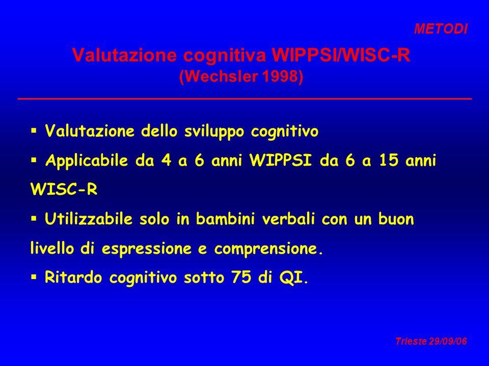 Trieste 29/09/06 Valutazione cognitiva WIPPSI/WISC-R (Wechsler 1998) Valutazione dello sviluppo cognitivo Applicabile da 4 a 6 anni WIPPSI da 6 a 15 a