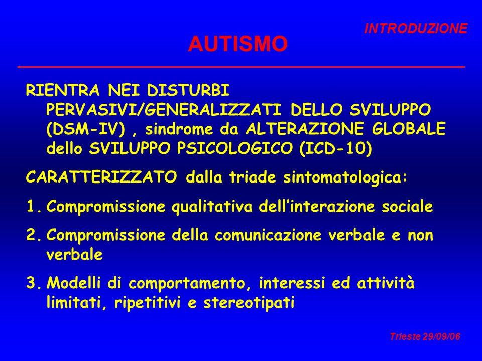 Trieste 29/09/06 AUTISMO RIENTRA NEI DISTURBI PERVASIVI/GENERALIZZATI DELLO SVILUPPO (DSM-IV), sindrome da ALTERAZIONE GLOBALE dello SVILUPPO PSICOLOG