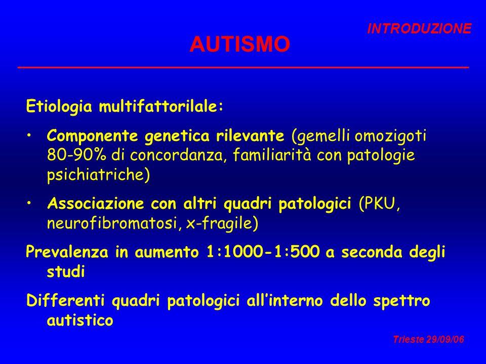 Trieste 29/09/06 AUTISMO Etiologia multifattorilale: Componente genetica rilevante (gemelli omozigoti 80-90% di concordanza, familiarità con patologie