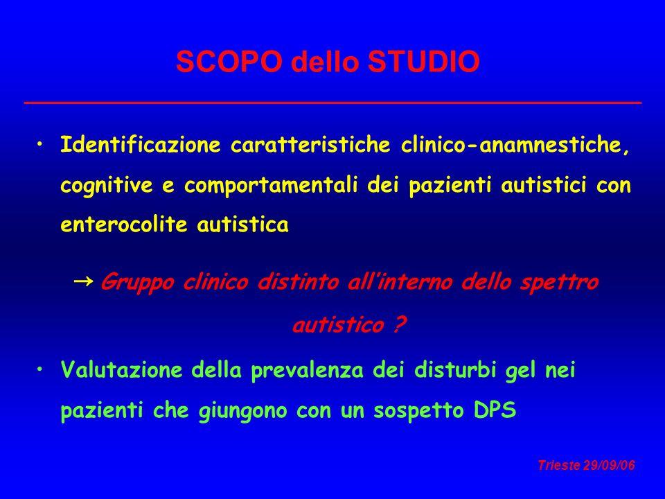 Trieste 29/09/06 Identificazione caratteristiche clinico-anamnestiche, cognitive e comportamentali dei pazienti autistici con enterocolite autistica G