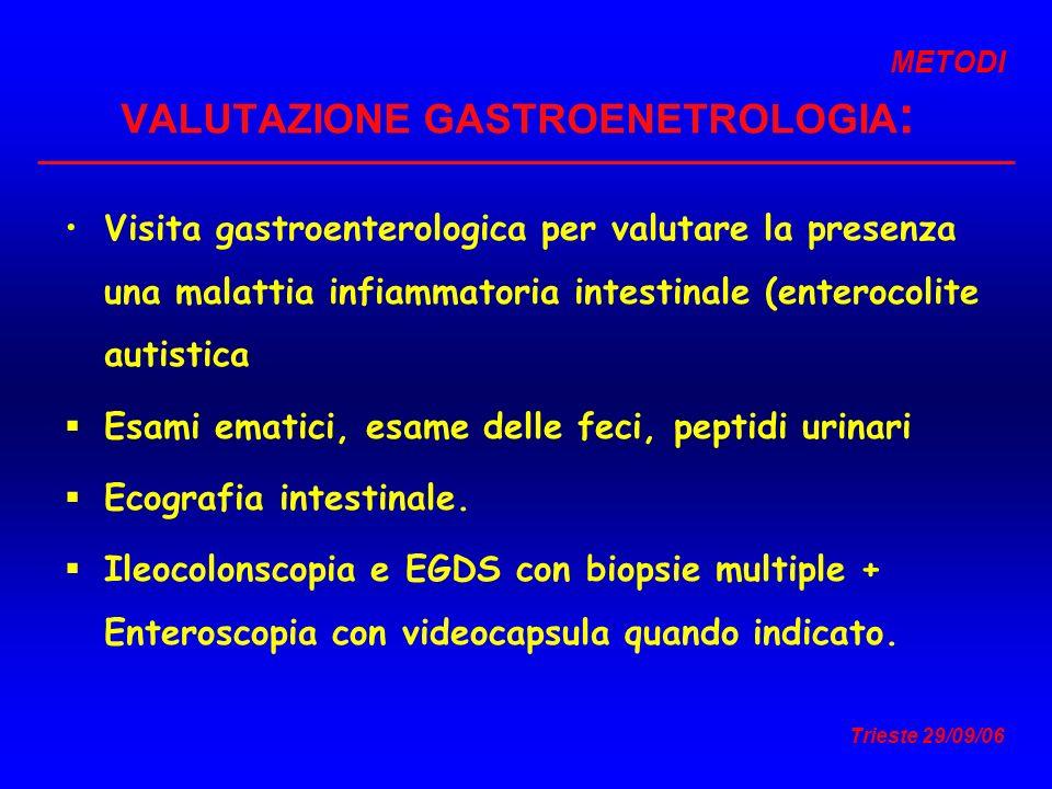 Trieste 29/09/06 VALUTAZIONE GASTROENETROLOGIA : Visita gastroenterologica per valutare la presenza una malattia infiammatoria intestinale (enterocoli