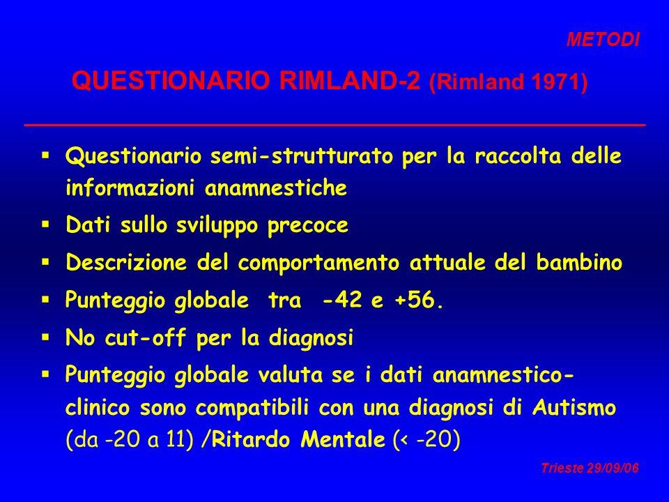 Trieste 29/09/06 QUESTIONARIO RIMLAND-2 (Rimland 1971) Questionario semi-strutturato per la raccolta delle informazioni anamnestiche Dati sullo svilup