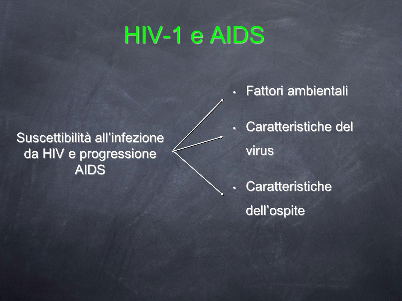 HIV-1 e AIDS Fattori ambientali Fattori ambientali Caratteristiche del virus Caratteristiche del virus Caratteristiche dellospite Caratteristiche dell