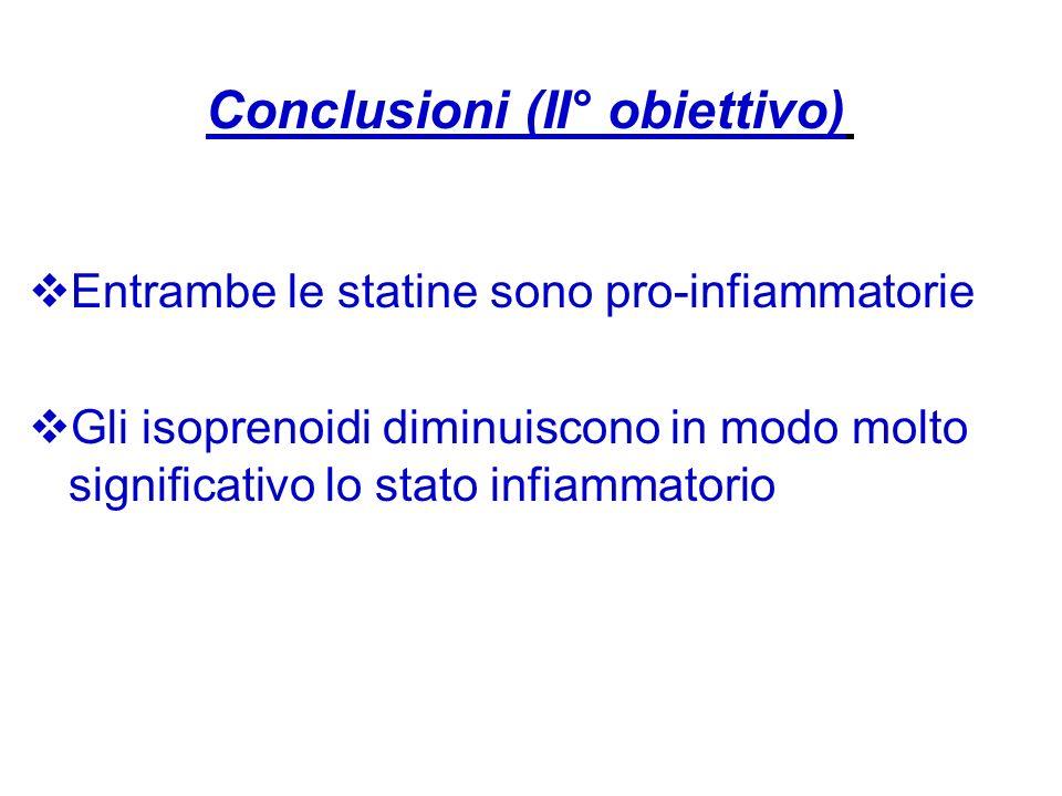 Entrambe le statine sono pro-infiammatorie Gli isoprenoidi diminuiscono in modo molto significativo lo stato infiammatorio Conclusioni (II° obiettivo)