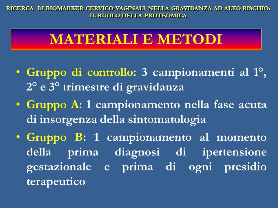 Gruppo di controllo: 3 campionamenti al 1°, 2° e 3° trimestre di gravidanza Gruppo A: 1 campionamento nella fase acuta di insorgenza della sintomatolo