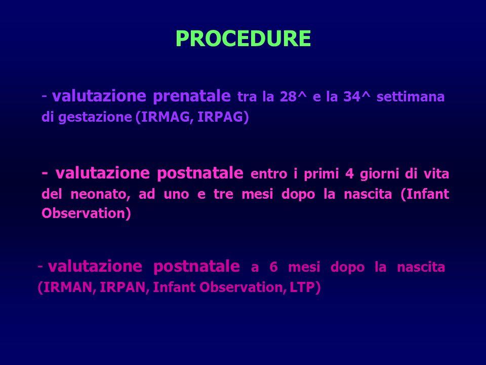 PROCEDURE - valutazione prenatale tra la 28^ e la 34^ settimana di gestazione (IRMAG, IRPAG) - valutazione postnatale entro i primi 4 giorni di vita del neonato, ad uno e tre mesi dopo la nascita (Infant Observation) - valutazione postnatale a 6 mesi dopo la nascita (IRMAN, IRPAN, Infant Observation, LTP)