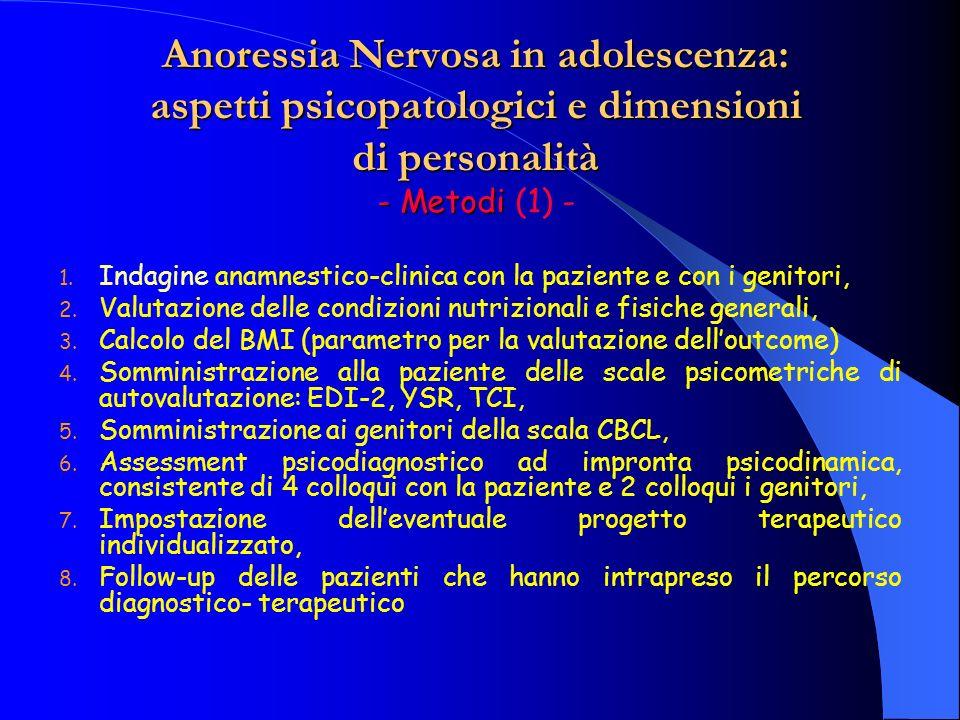 Anoressia Nervosa in adolescenza: aspetti psicopatologici e dimensioni di personalità - Metodi Anoressia Nervosa in adolescenza: aspetti psicopatologici e dimensioni di personalità - Metodi (2) - Follow-up: Colloqui psichiatrici con la paziente ed i genitori: – 3 mesi – 6 mesi – 12 mesi + DS + scale psicometriche – 18 mesi – 24 mesi + DS + scale psicometriche