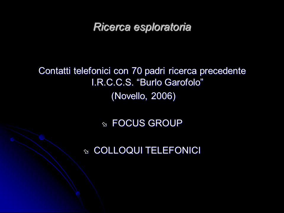 Ricerca esploratoria Contatti telefonici con 70 padri ricerca precedente I.R.C.C.S. Burlo Garofolo (Novello, 2006) (Novello, 2006) FOCUS GROUP FOCUS G