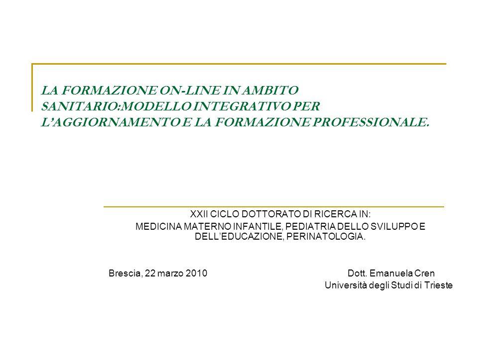 DISEGNO DI RICERCA Il forum didattico come modello formativo nei percorsi di alta formazione in ambito medico concorre allo sviluppo di R-A professionalizzante ?