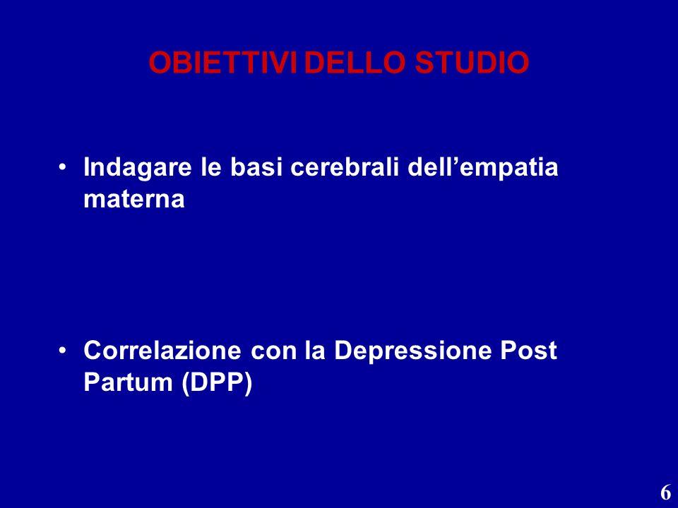 6 OBIETTIVI DELLO STUDIO Indagare le basi cerebrali dellempatia materna Correlazione con la Depressione Post Partum (DPP)