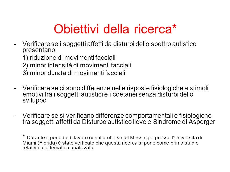 Obiettivi della ricerca* -Verificare se i soggetti affetti da disturbi dello spettro autistico presentano: 1) riduzione di movimenti facciali 2) minor
