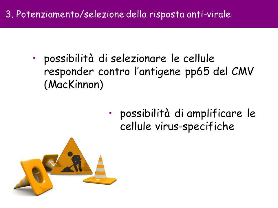 possibilità di amplificare le cellule virus-specifiche 3. Potenziamento/selezione della risposta anti-virale possibilità di selezionare le cellule res