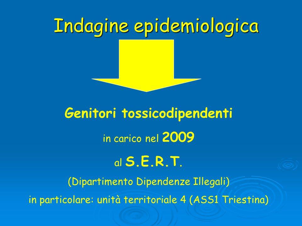 Indagine epidemiologica Genitori tossicodipendenti in carico nel 2009 al S.E.R.T. (Dipartimento Dipendenze Illegali) in particolare: unità territorial