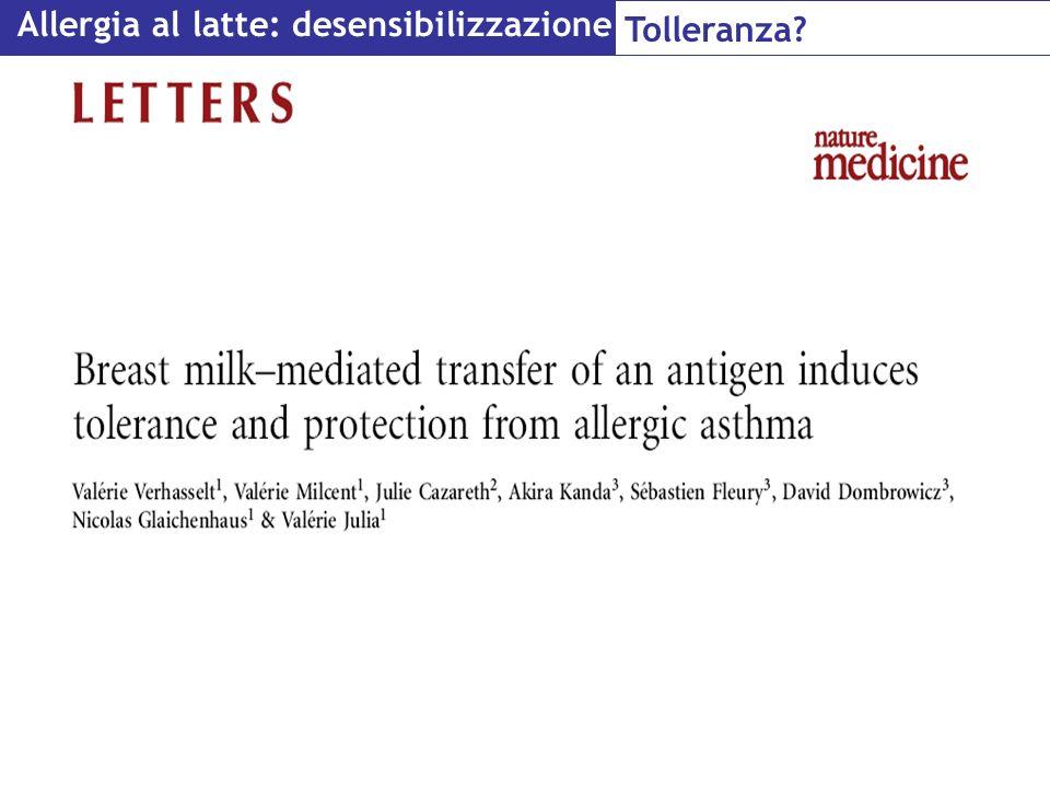 Allergia al latte: desensibilizzazione Tolleranza?