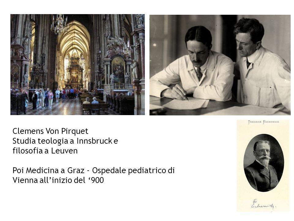 Clemens Von Pirquet Studia teologia a Innsbruck e filosofia a Leuven Poi Medicina a Graz - Ospedale pediatrico di Vienna allinizio del 900