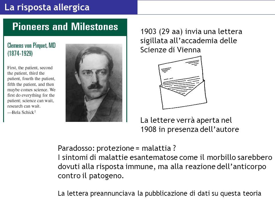 La risposta allergica 1903 (29 aa) invia una lettera sigillata allaccademia delle Scienze di Vienna Paradosso: protezione = malattia ? I sintomi di ma