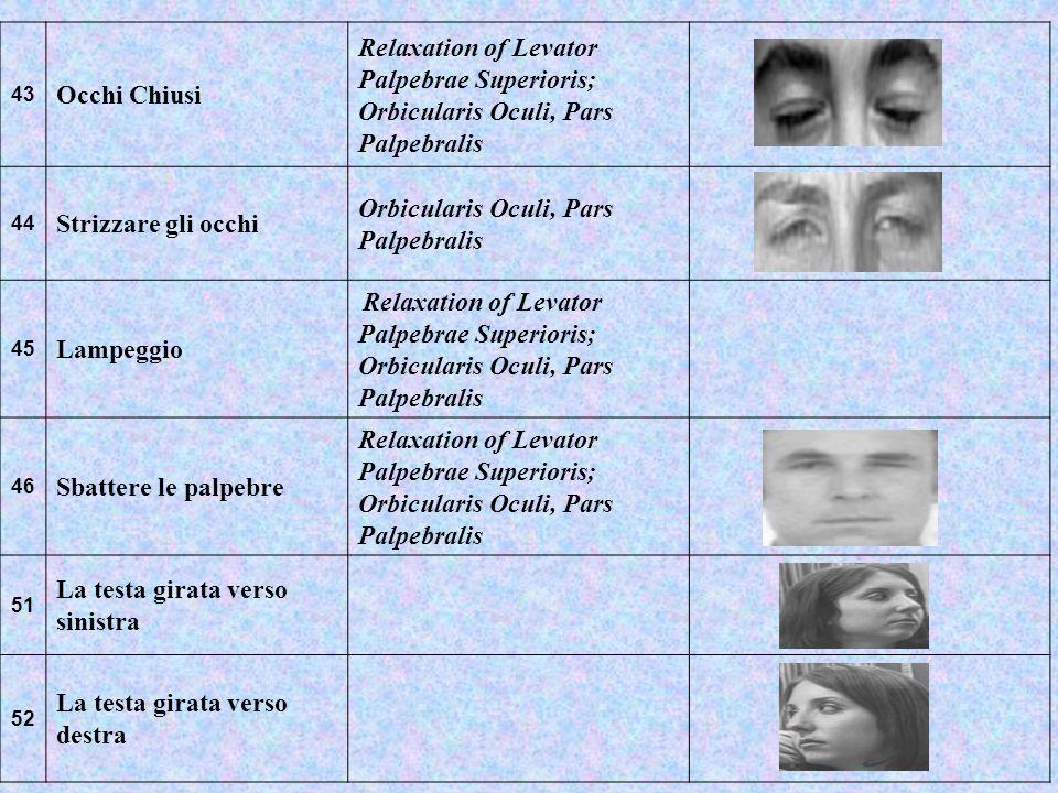 43 Occhi Chiusi Relaxation of Levator Palpebrae Superioris; Orbicularis Oculi, Pars Palpebralis 44 Strizzare gli occhi Orbicularis Oculi, Pars Palpebr