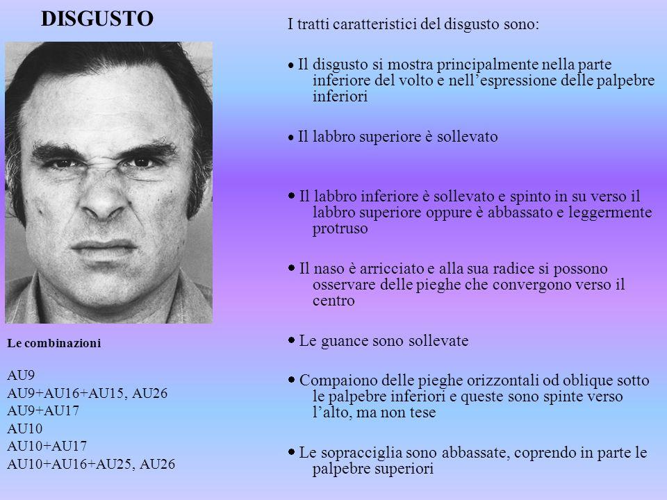 DISGUSTO I tratti caratteristici del disgusto sono: Il disgusto si mostra principalmente nella parte inferiore del volto e nellespressione delle palpe