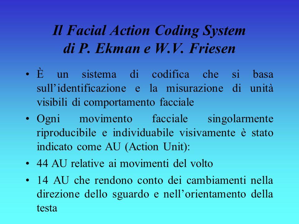 Il Facial Action Coding System di P. Ekman e W.V. Friesen È un sistema di codifica che si basa sullidentificazione e la misurazione di unità visibili