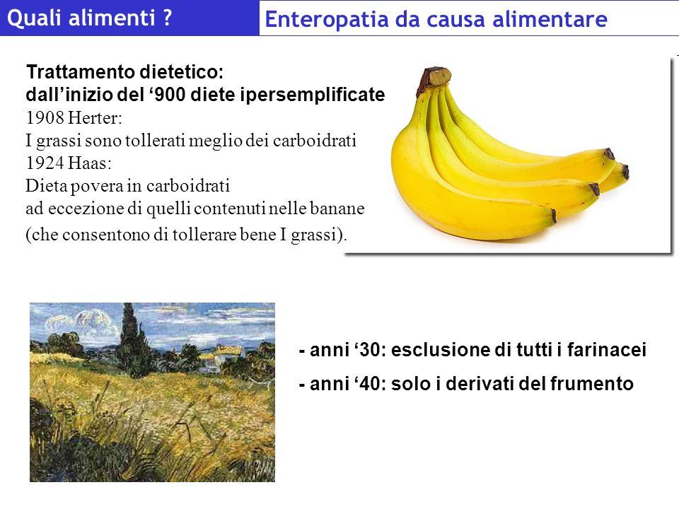 Quali alimenti ? Enteropatia da causa alimentare - anni 30: esclusione di tutti i farinacei - anni 40: solo i derivati del frumento Trattamento dietet