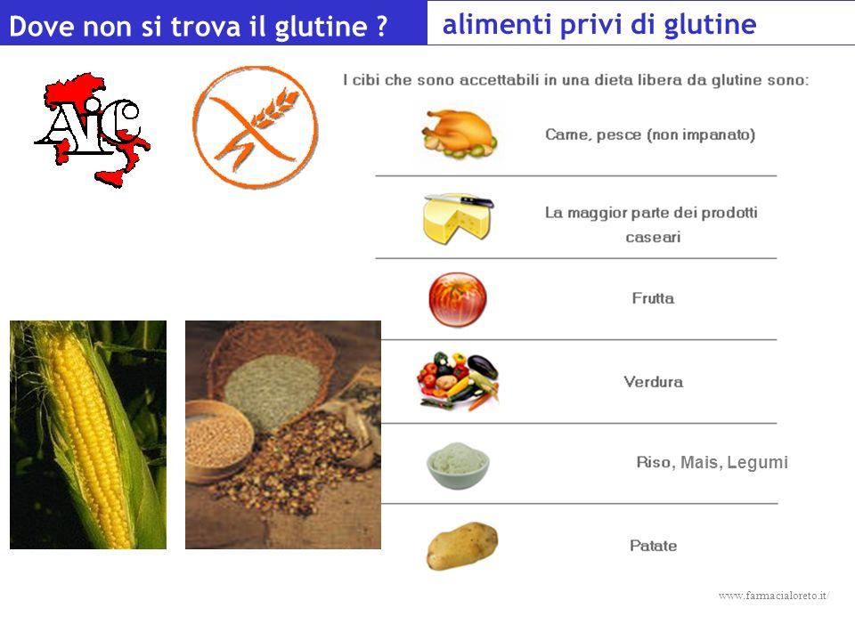 Alimenti privi di glutine Dove non si trova il glutine ? alimenti privi di glutine www.farmacialoreto.it/, Mais, Legumi