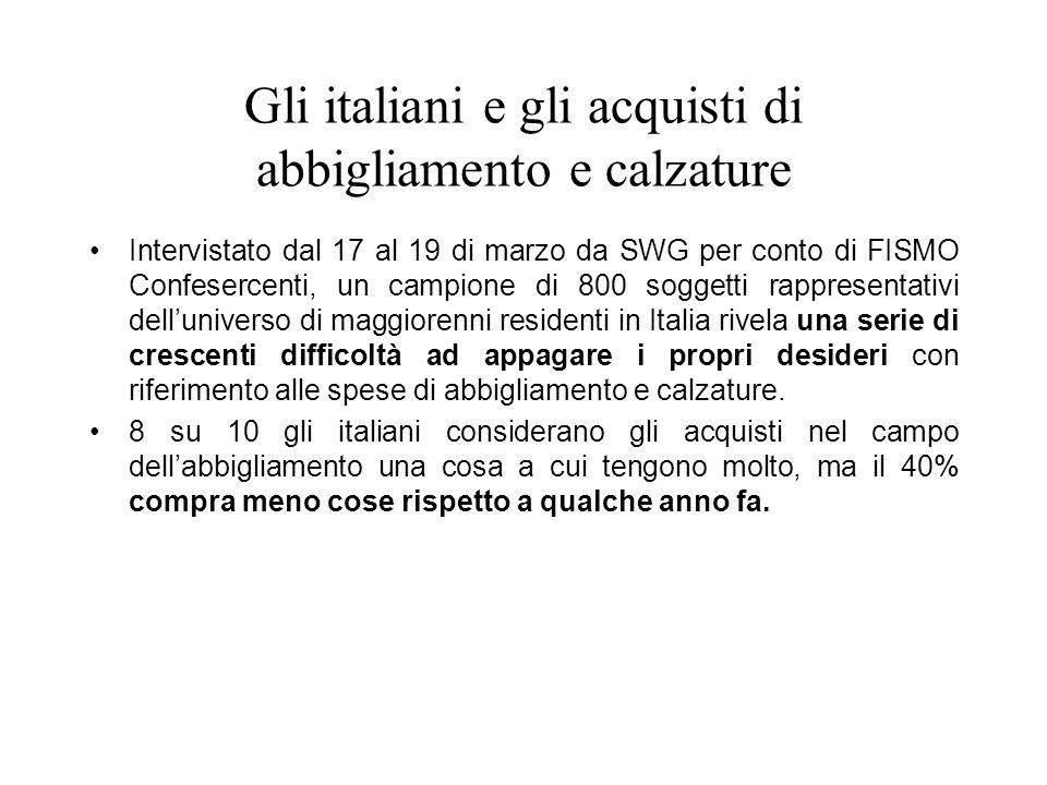 Gli italiani e gli acquisti di abbigliamento e calzature Intervistato dal 17 al 19 di marzo da SWG per conto di FISMO Confesercenti, un campione di 80