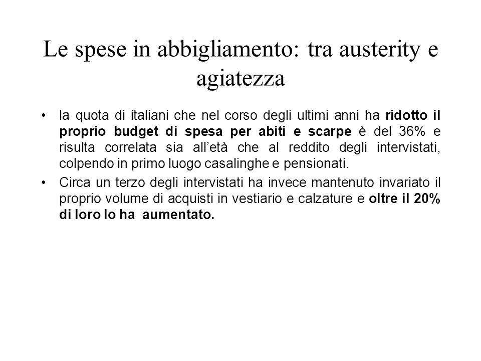 Le spese in abbigliamento: tra austerity e agiatezza la quota di italiani che nel corso degli ultimi anni ha ridotto il proprio budget di spesa per ab