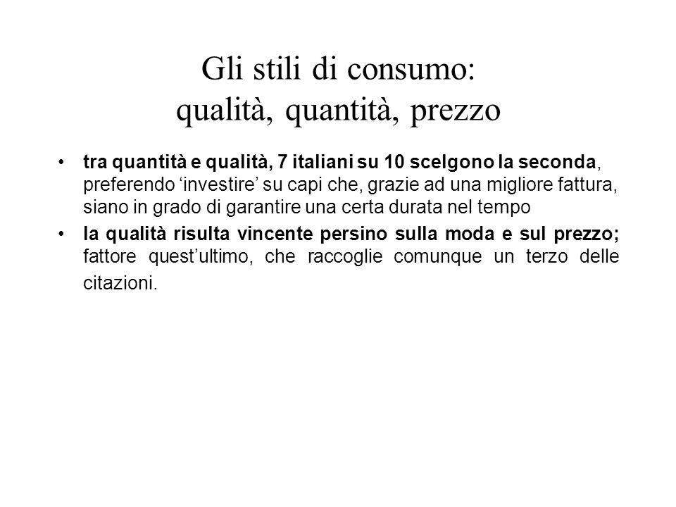 Gli stili di consumo: qualità, quantità, prezzo tra quantità e qualità, 7 italiani su 10 scelgono la seconda, preferendo investire su capi che, grazie