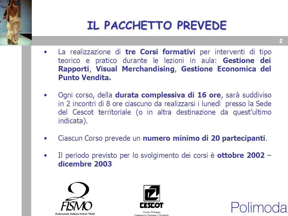 1 Firenze, 16 luglio 2002 Corsi di: Gestione dei Rapporti Visual Merchandising Gestione Economica del Punto Vendita Servizi di Formazione e Consulenza