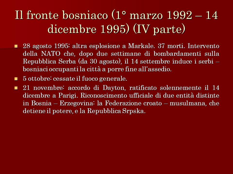 Il fronte bosniaco (1° marzo 1992 – 14 dicembre 1995) (IV parte) 28 agosto 1995: altra esplosione a Markale. 37 morti. Intervento della NATO che, dopo