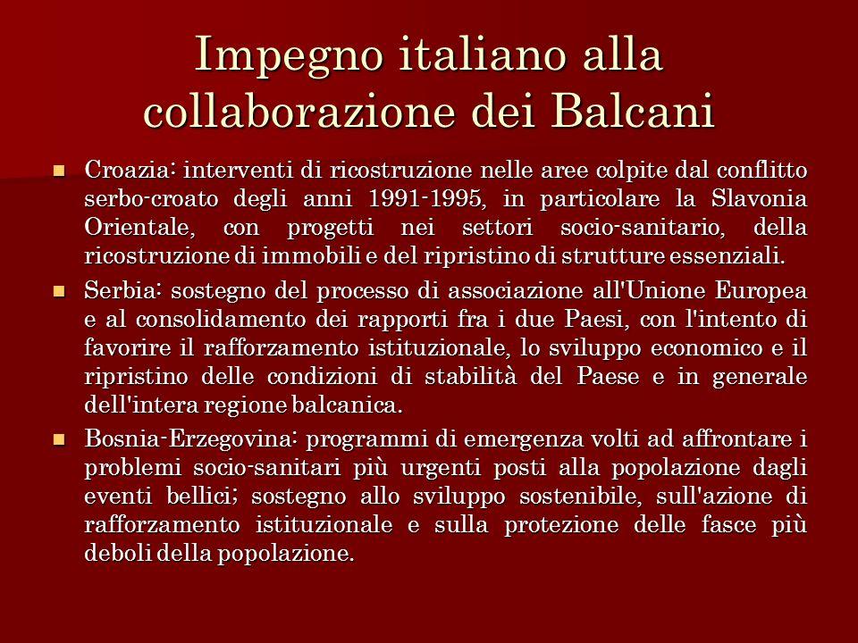 Impegno italiano alla collaborazione dei Balcani Croazia: interventi di ricostruzione nelle aree colpite dal conflitto serbo-croato degli anni 1991-19