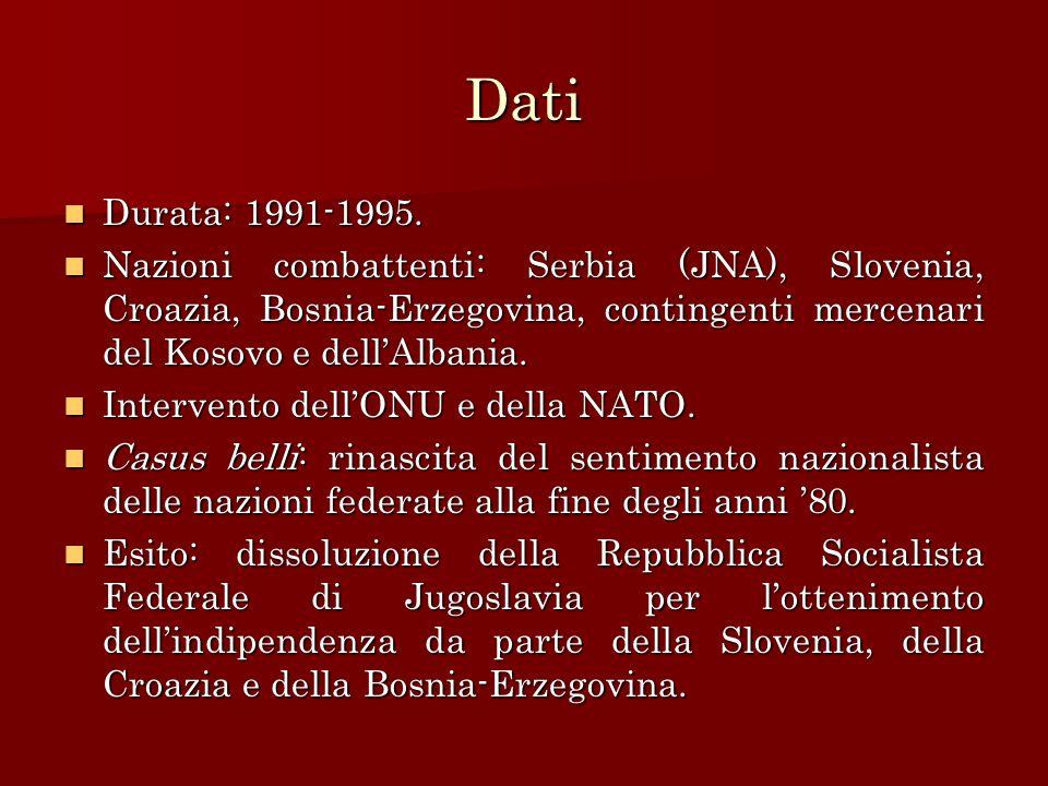 Dati Durata: 1991-1995. Durata: 1991-1995. Nazioni combattenti: Serbia (JNA), Slovenia, Croazia, Bosnia-Erzegovina, contingenti mercenari del Kosovo e