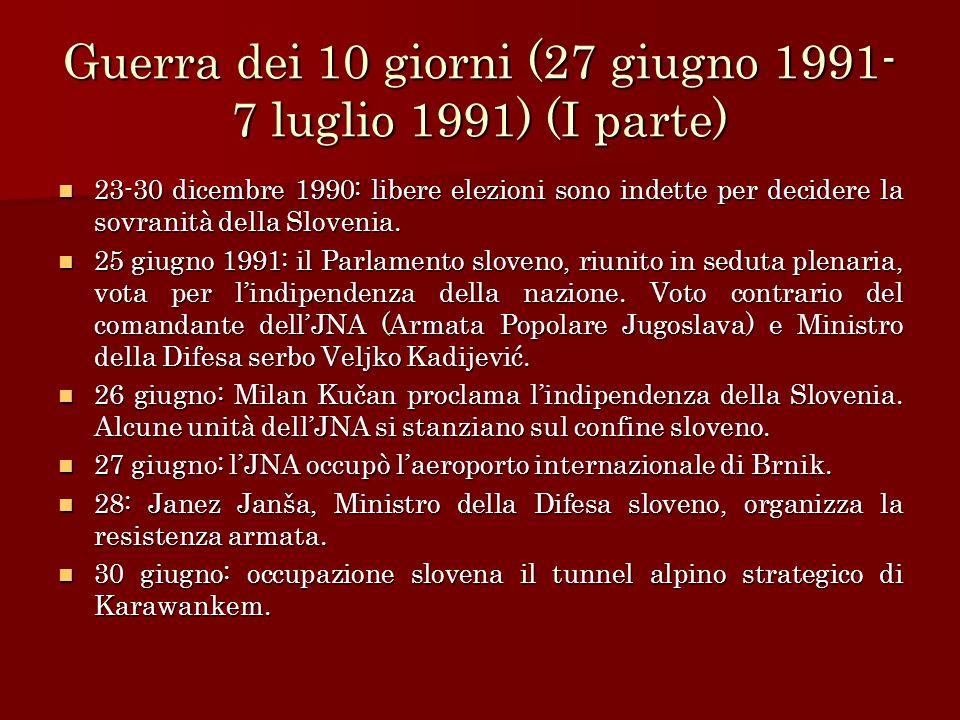 Guerra dei 10 giorni (27 giugno 1991- 7 luglio 1991) (I parte) 23-30 dicembre 1990: libere elezioni sono indette per decidere la sovranità della Slove