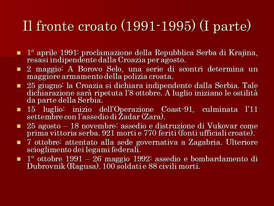 Il fronte croato (1991-1995) (II parte) 15 gennaio 1992: riconoscimento ufficiale da parte dellUE della Croazia.