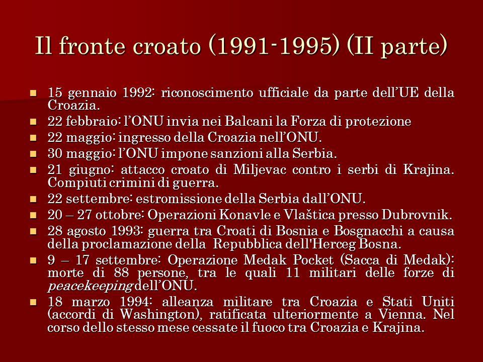 Il fronte croato (1991-1995) (II parte) 15 gennaio 1992: riconoscimento ufficiale da parte dellUE della Croazia. 15 gennaio 1992: riconoscimento uffic