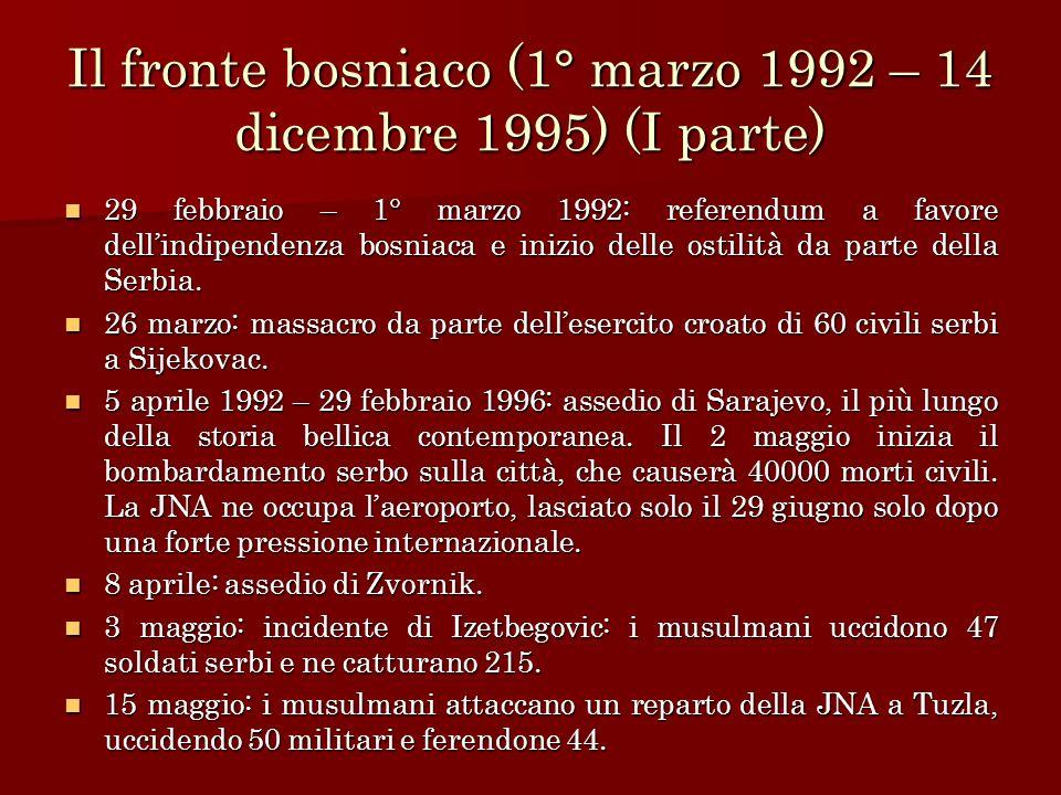 Il fronte bosniaco (1° marzo 1992 – 14 dicembre 1995) (I parte) 29 febbraio – 1° marzo 1992: referendum a favore dellindipendenza bosniaca e inizio de