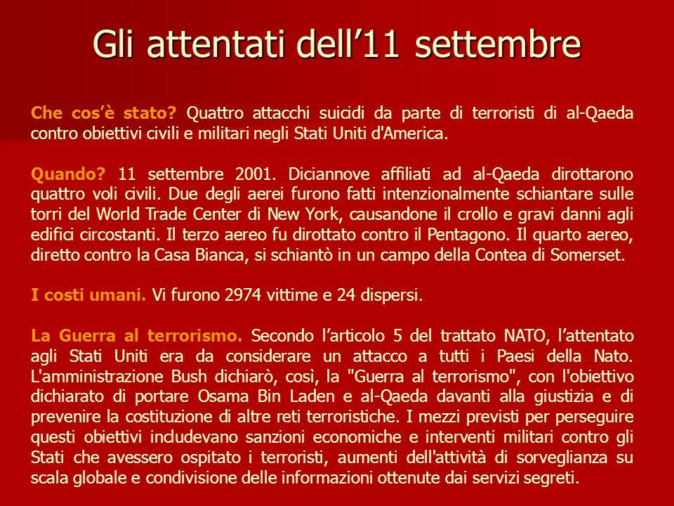Gli attentati dell11 settembre Che cosè stato? Quattro attacchi suicidi da parte di terroristi di al-Qaeda contro obiettivi civili e militari negli St