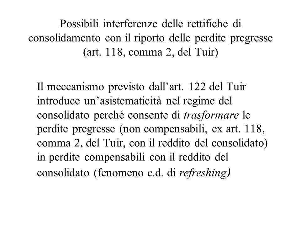 Possibili interferenze delle rettifiche di consolidamento con il riporto delle perdite pregresse (art. 118, comma 2, del Tuir) Il meccanismo previsto