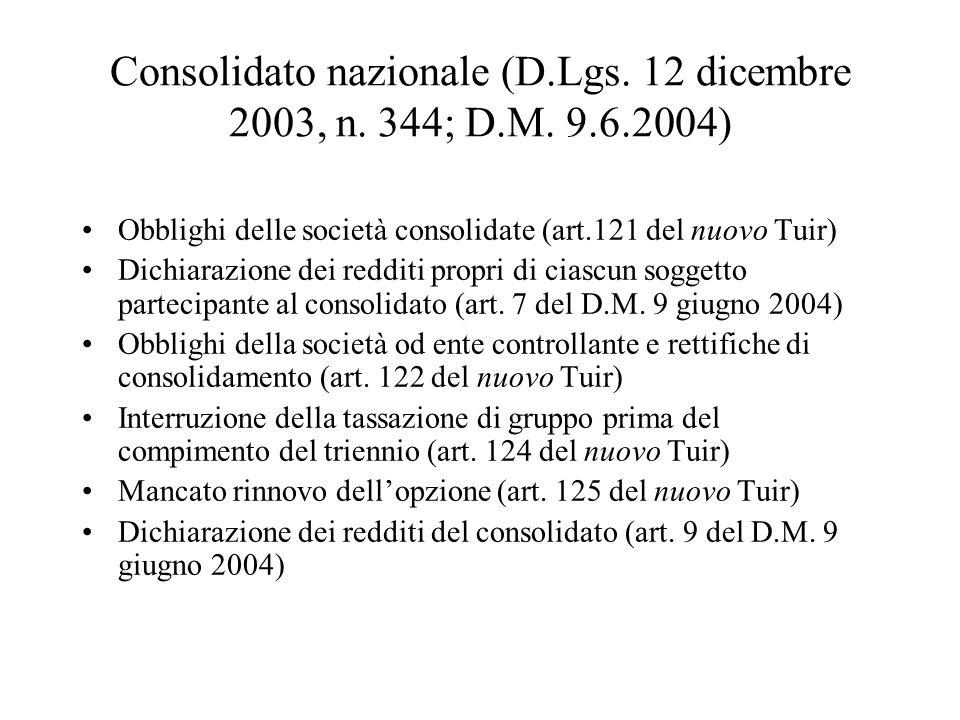 Consolidato nazionale (D.Lgs. 12 dicembre 2003, n. 344; D.M. 9.6.2004) Obblighi delle società consolidate (art.121 del nuovo Tuir) Dichiarazione dei r