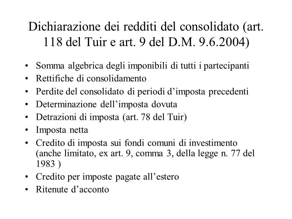 Dichiarazione dei redditi del consolidato (art. 118 del Tuir e art. 9 del D.M. 9.6.2004) Somma algebrica degli imponibili di tutti i partecipanti Rett