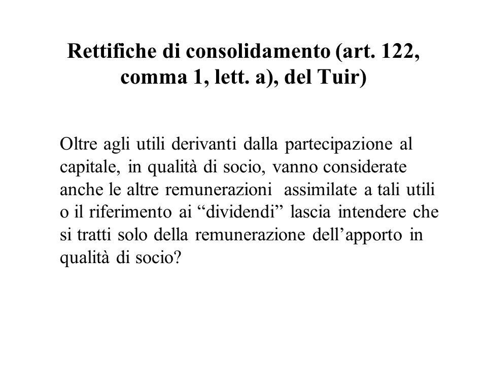 Rettifiche di consolidamento (art. 122, comma 1, lett. a), del Tuir) Oltre agli utili derivanti dalla partecipazione al capitale, in qualità di socio,