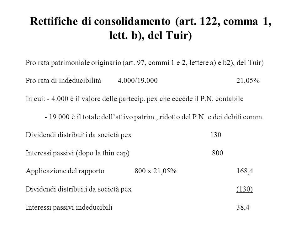 Rettifiche di consolidamento (art. 122, comma 1, lett. b), del Tuir) Pro rata patrimoniale originario (art. 97, commi 1 e 2, lettere a) e b2), del Tui