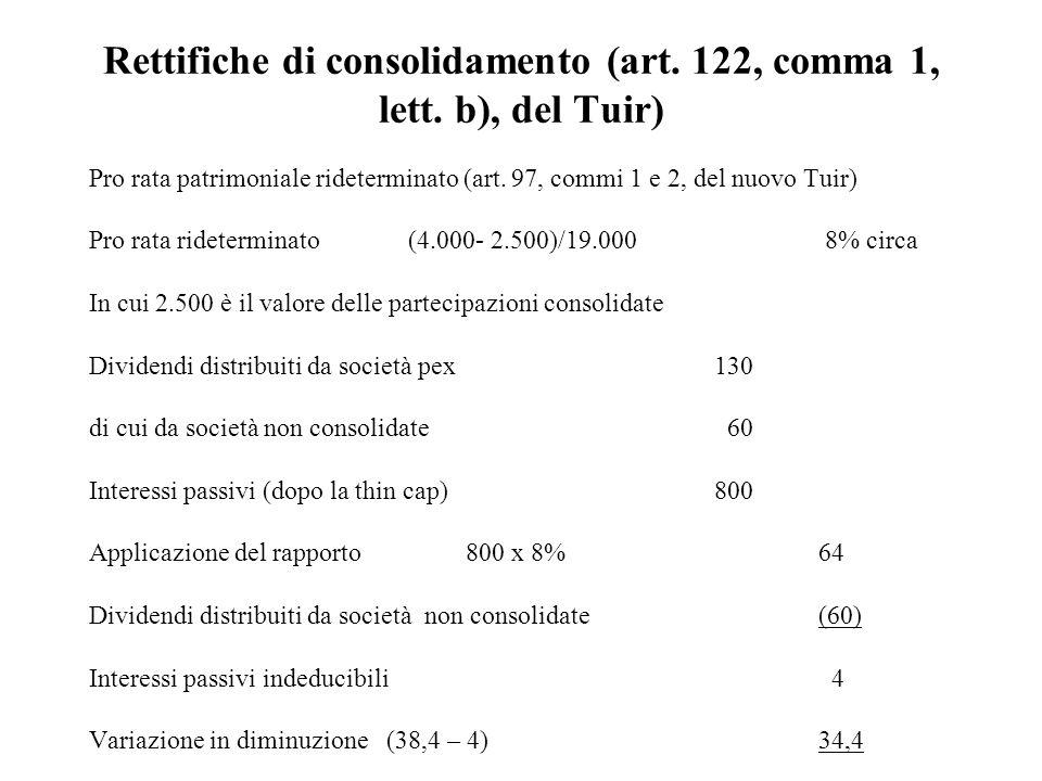 Rettifiche di consolidamento (art. 122, comma 1, lett. b), del Tuir) Pro rata patrimoniale rideterminato (art. 97, commi 1 e 2, del nuovo Tuir) Pro ra