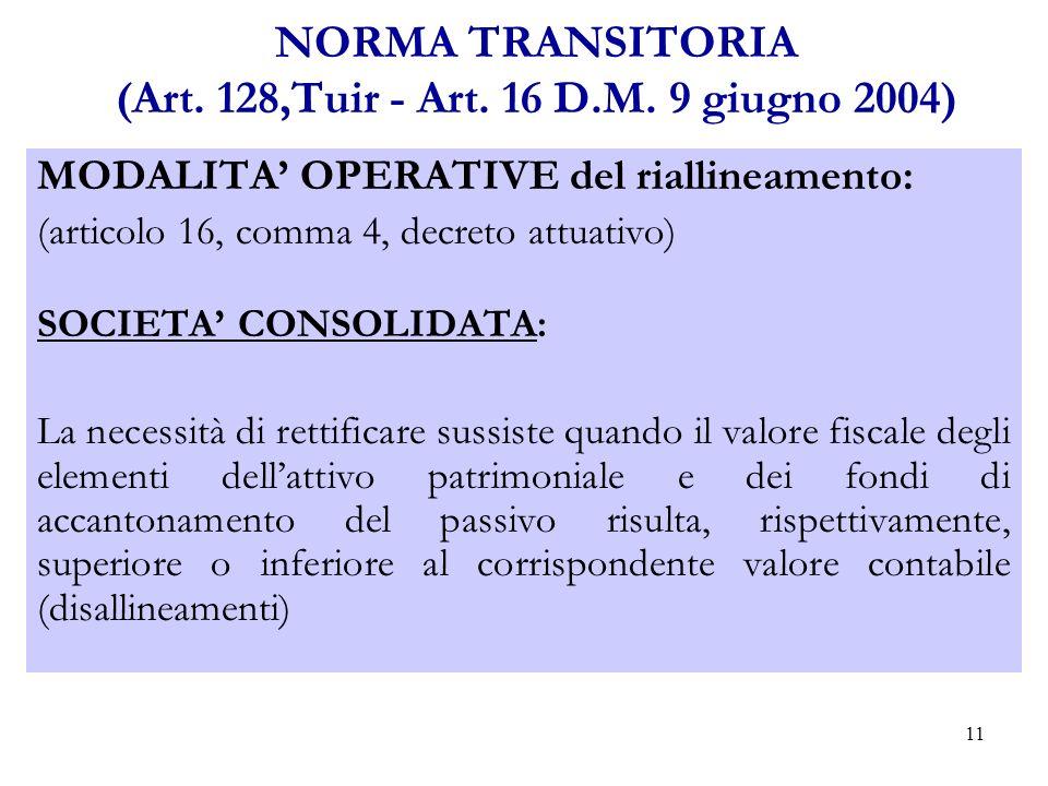 11 NORMA TRANSITORIA (Art.128,Tuir - Art. 16 D.M.