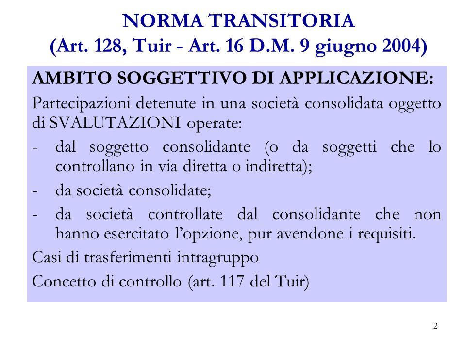 2 NORMA TRANSITORIA (Art.128, Tuir - Art. 16 D.M.