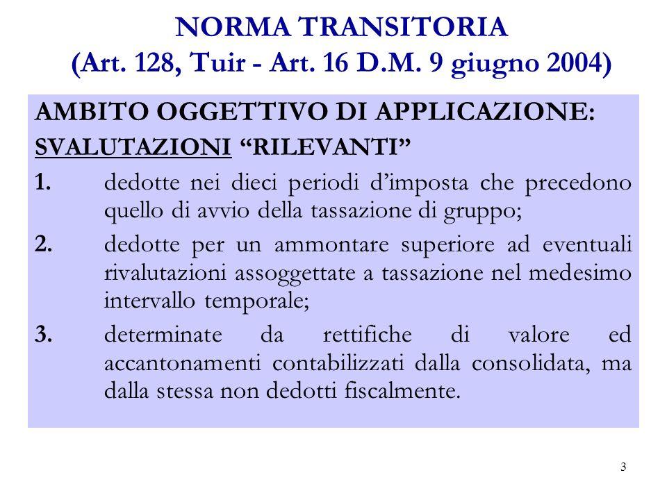 14 NORMA TRANSITORIA (Art.128,Tuir - Art. 16 D.M.